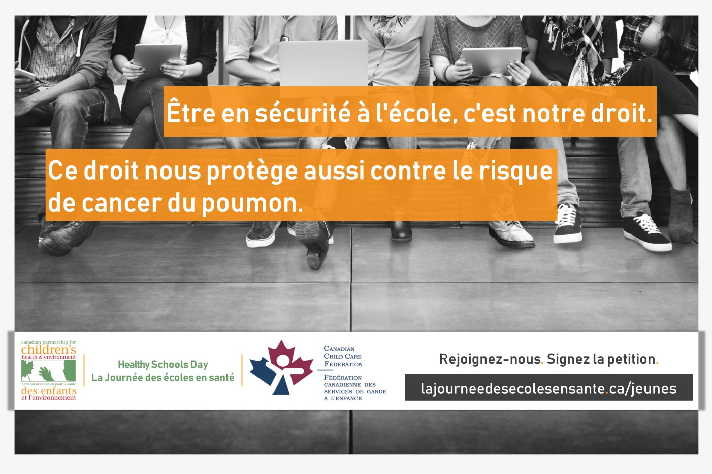Speaking out, student message 1, social media graphic, french